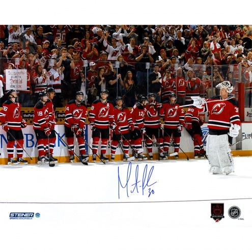 """New Jersey Devils Martin Brodeur Final Game with Career/Retirement logo Signed 16"""" x 20"""" Photo"""
