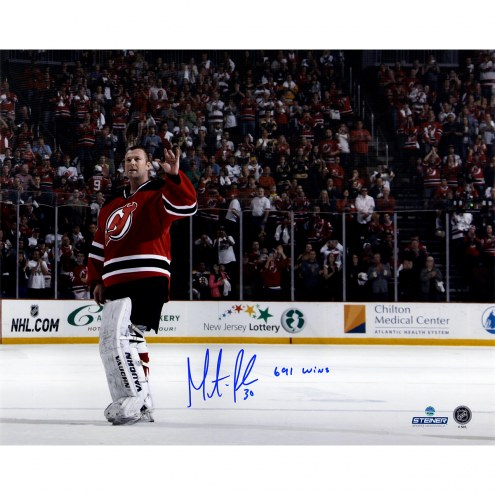 """New Jersey Devils Martin Brodeur Waving to Fans w/ """"691 Wins"""" Signed 16"""" x 20"""" Photo"""