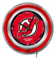 New Jersey Devils Neon Clock