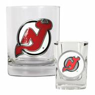 New Jersey Devils NHL Rocks Glass and Square Shot Glass - 2 Piece Set