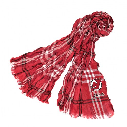 New Jersey Devils Plaid Crinkle Scarf