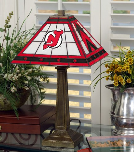 New Jersey Devils Stained Glass Mission Table Lamp
