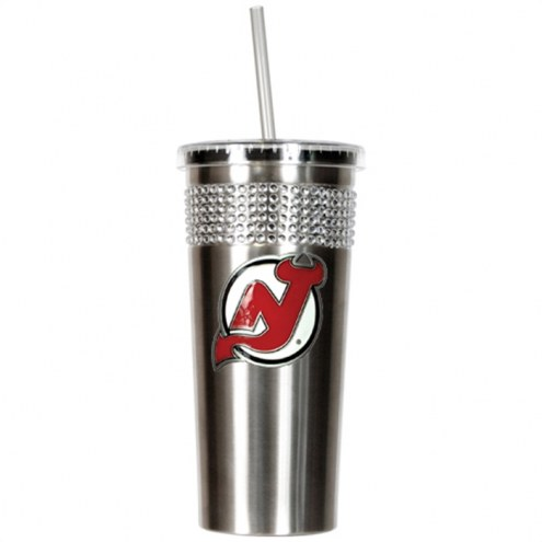 New Jersey Devils Stainless Steel Bling Tumbler with Straw