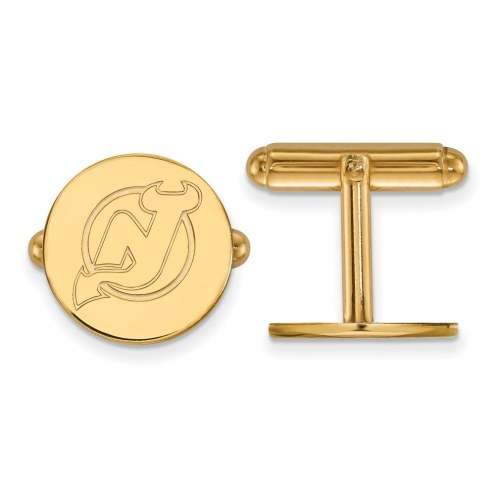 New Jersey Devils Sterling Silver Gold Plated Cuff Links