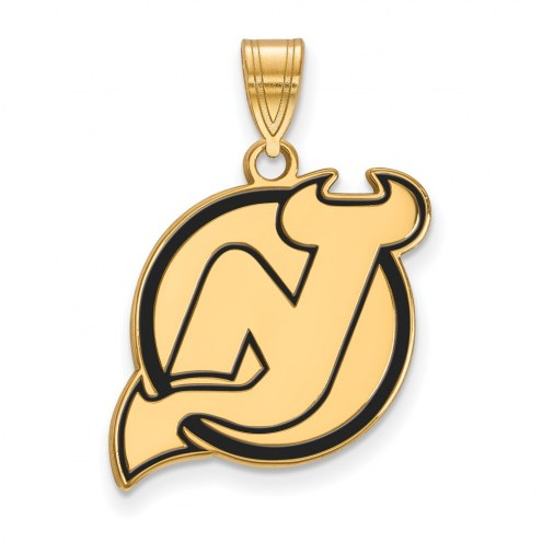 New Jersey Devils Sterling Silver Gold Plated Large Enameled Pendant