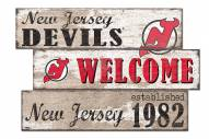 New Jersey Devils Welcome 3 Plank Sign
