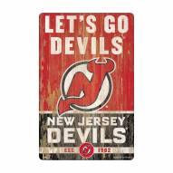 New Jersey Devils Slogan Wood Sign