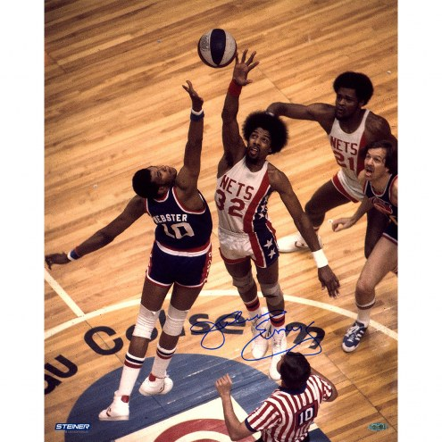 """New Jersey Nets Julius Erving Tip-off Signed 16"""" x 20"""" Photo"""