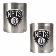 New Jersey Nets NBA Stainless Steel Can Holder 2-Piece Set