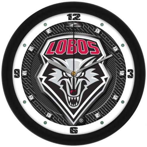 New Mexico Lobos Carbon Fiber Wall Clock