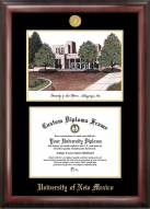 New Mexico Lobos Gold Embossed Diploma Frame with Campus Images Lithograph