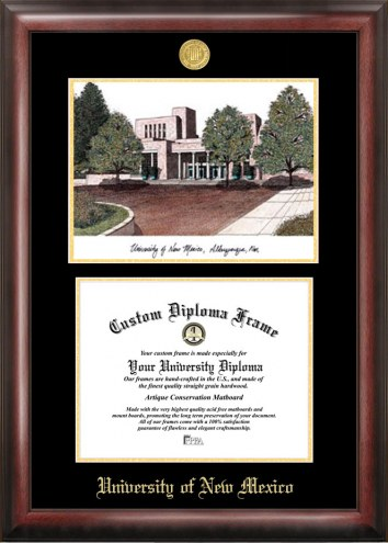 New Mexico Lobos Gold Embossed Diploma Frame with Lithograph