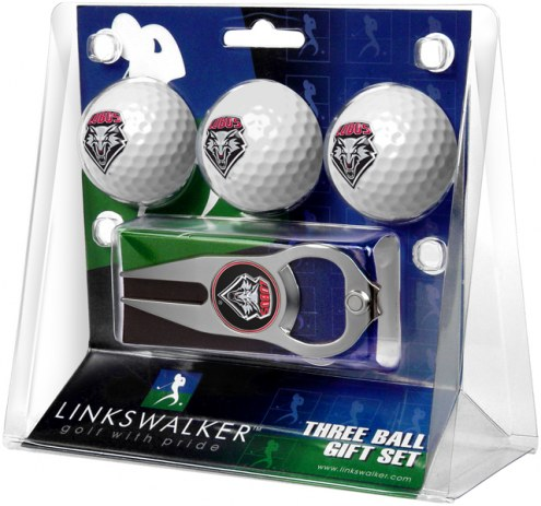 New Mexico Lobos Golf Ball Gift Pack with Hat Trick Divot Tool