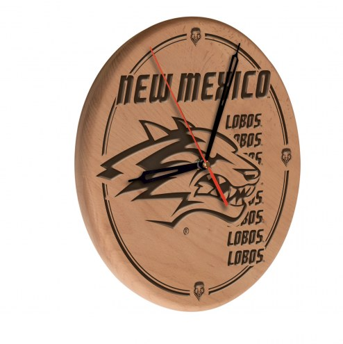 New Mexico Lobos Laser Engraved Wood Clock