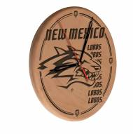 New Mexico Lobos Laser Engraved Wood Clock