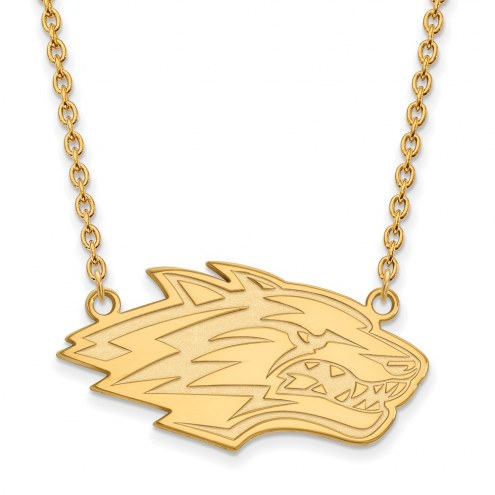 New Mexico Lobos Sterling Silver Gold Plated Large Pendant Necklace