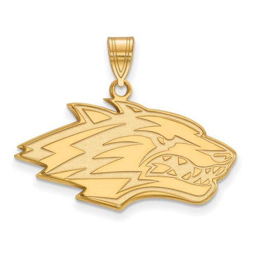 New Mexico Lobos Sterling Silver Gold Plated Large Pendant