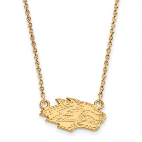 New Mexico Lobos Sterling Silver Gold Plated Small Pendant Necklace