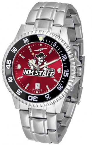 New Mexico State Aggies Competitor Steel AnoChrome Color Bezel Men's Watch