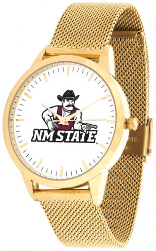 New Mexico State Aggies Gold Mesh Statement Watch