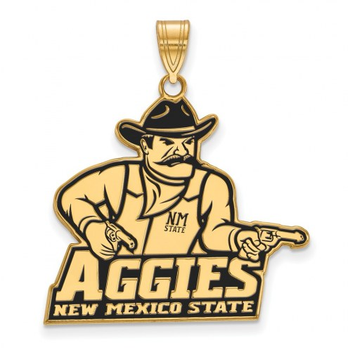 New Mexico State Aggies Sterling Silver Gold Plated Extra Large Enameled Pendant
