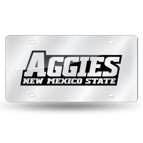 New Mexico State Aggies Silver Laser License Plate
