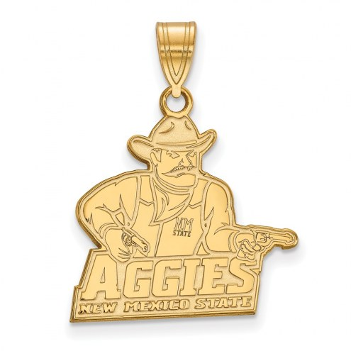 New Mexico State Aggies Sterling Silver Gold Plated Large Pendant