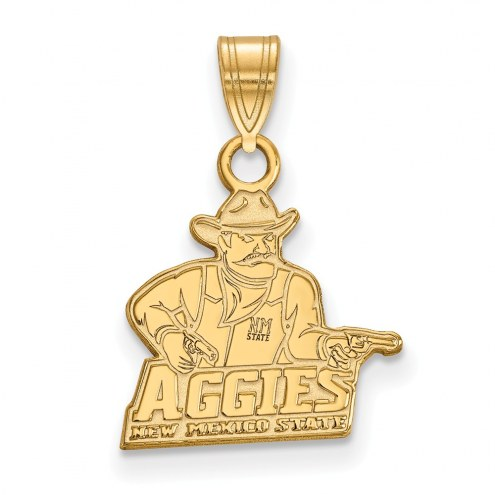 New Mexico State Aggies Sterling Silver Gold Plated Small Pendant