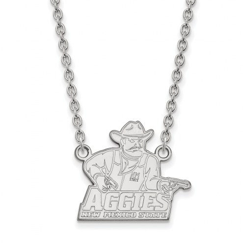 New Mexico State Aggies Sterling Silver Large Pendant Necklace