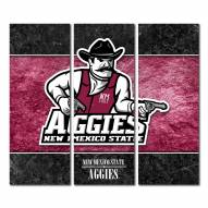 New Mexico State Aggies Triptych Double Border Canvas Wall Art