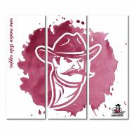 New Mexico State Aggies Triptych Watercolor Canvas Wall Art