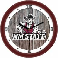 New Mexico State Aggies Weathered Wood Wall Clock