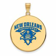 New Orleans Privateers Sterling Silver Gold Plated Extra Large Enameled Disc Pendant
