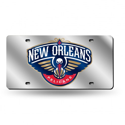 New Orleans Pelicans Silver Laser License Plate