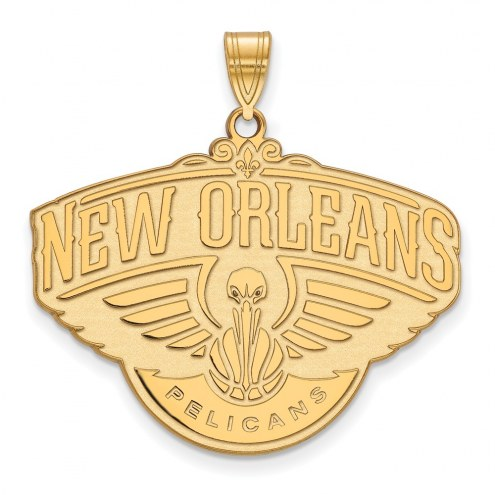 New Orleans Pelicans Sterling Silver Gold Plated Extra Large Pendant