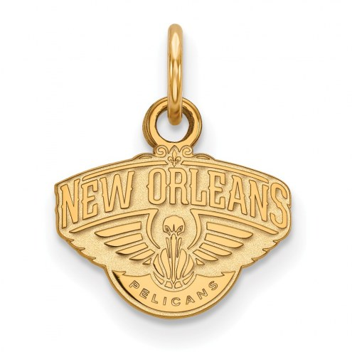 New Orleans Pelicans Sterling Silver Gold Plated Extra Small Pendant