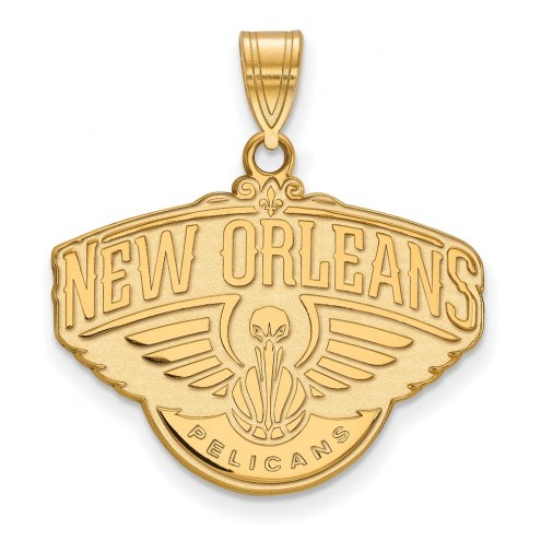 New Orleans Pelicans Sterling Silver Gold Plated Large Pendant