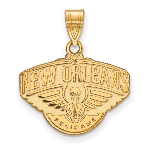 New Orleans Pelicans Sterling Silver Gold Plated Medium Pendant