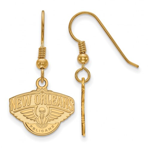New Orleans Pelicans Sterling Silver Gold Plated Small Dangle Earrings