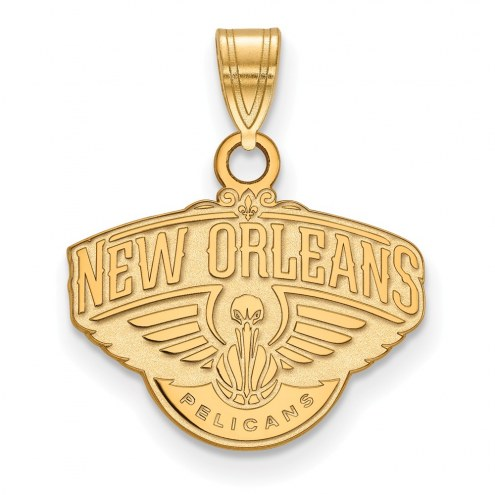New Orleans Pelicans Sterling Silver Gold Plated Small Pendant