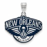 New Orleans Pelicans Sterling Silver Large Enameled Pendant