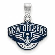 New Orleans Pelicans Sterling Silver Small Enamel Pendant
