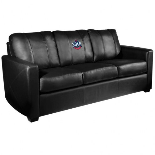 New Orleans Pelicans XZipit Silver Sofa with NOLA Logo