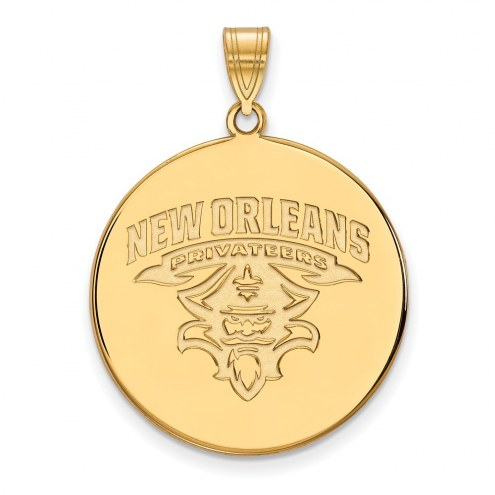 New Orleans Privateers Sterling Silver Gold Plated Extra Large Disc Pendant