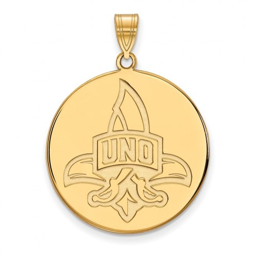New Orleans Privateers NCAA Sterling Silver Gold Plated Extra Large Disc Pendant