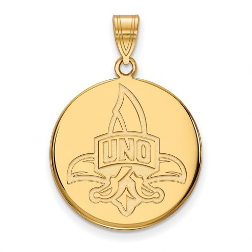 New Orleans Privateers NCAA Sterling Silver Gold Plated Large Disc Pendant