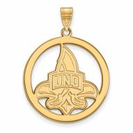 New Orleans Privateers Sterling Silver Gold Plated Large Circle Pendant