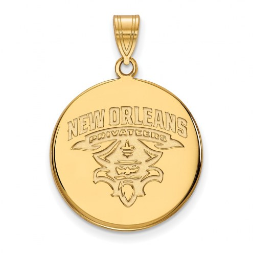 New Orleans Privateers Sterling Silver Gold Plated Large Disc Pendant