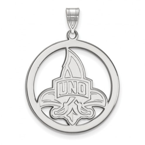 New Orleans Privateers Sterling Silver Large Circle Pendant