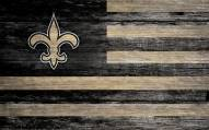 """New Orleans Saints 11"""" x 19"""" Distressed Flag Sign"""